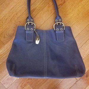 Tignanello Blue Leather Shoulder Handbag NWOT